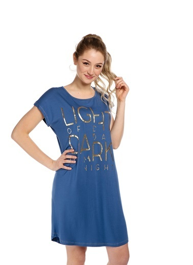 Pamuk & Pamuk Baskılı Mavi Gecelik  Renkli